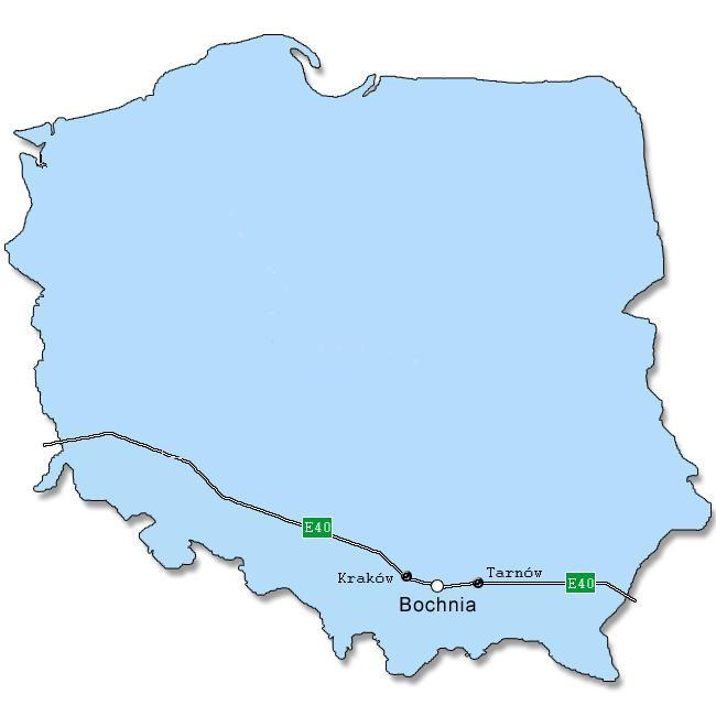 Mapa polski z zaznaczoną autostradą